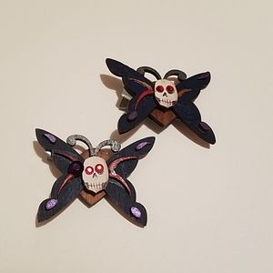 Wooden Skull Butterfly Hairclips